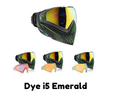 Dye i5 Emerald is one of the most popular selling colors of the Dye i5 paintball mask. While the emeralad color itself stands out, 3 exciting lens options for the Emerald make it pop even more!